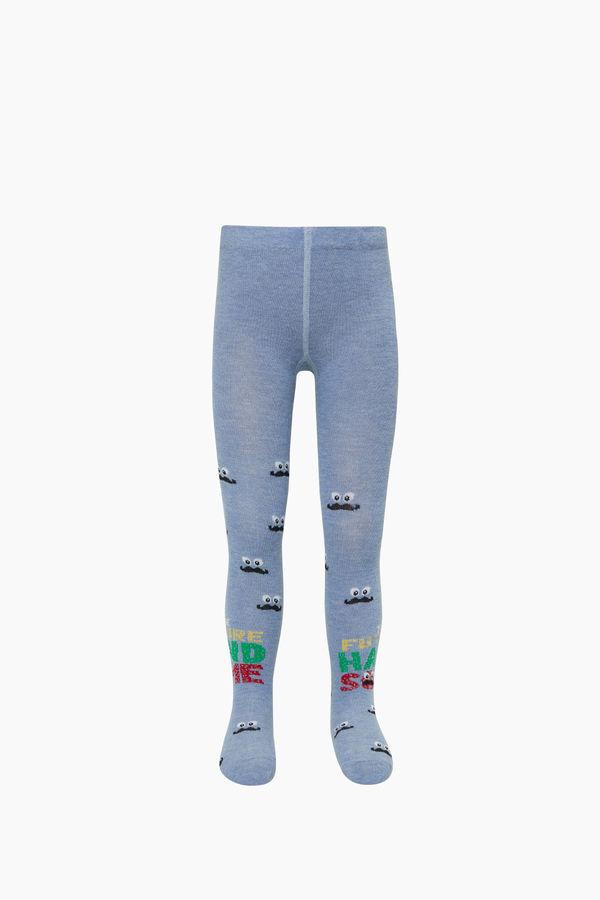 Bıyık Desenli Çocuk Külotlu Çorap
