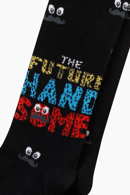 Bross Bıyık Desenli Çocuk Külotlu Çorap - Thumbnail