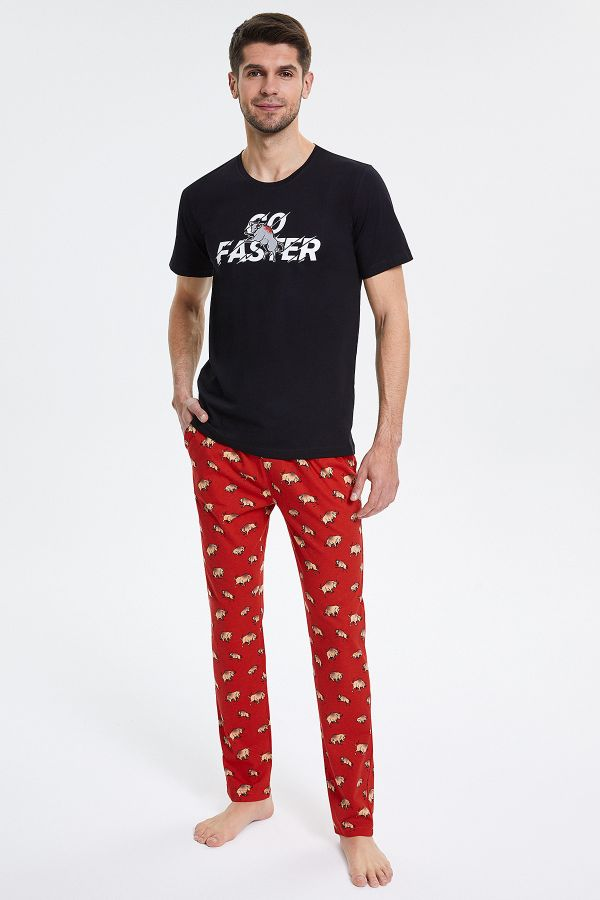 Boğa Desenli Kısa Kollu Erkek Pijama Takımı