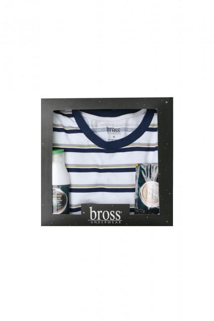 Bross - Boxed Short Sleeve Striped Men's Pajamas Set