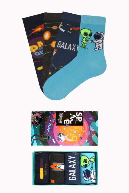 Bross - Boxed Space Collection 4-Pack Kids' Socks 1