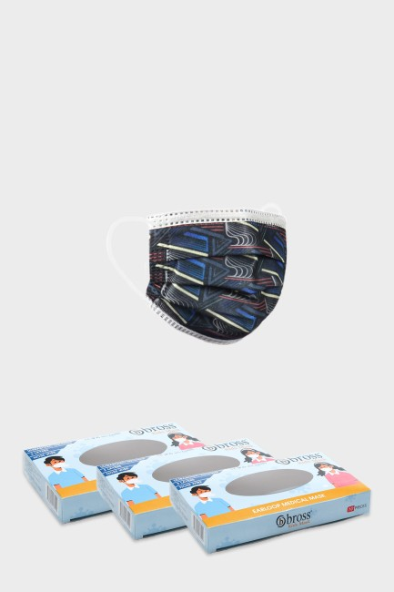 Bross - Bross 3 Boxes of 10 Pcs Line Patterned Kids Medical Mask