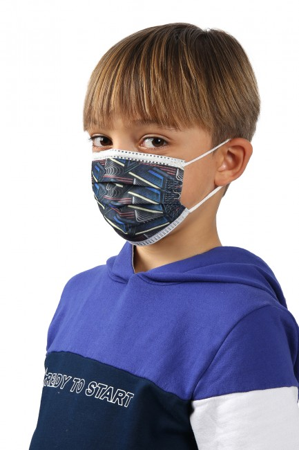 Bross 10'lu Çizgi Desenli Çocuk Medikal Maske - Thumbnail
