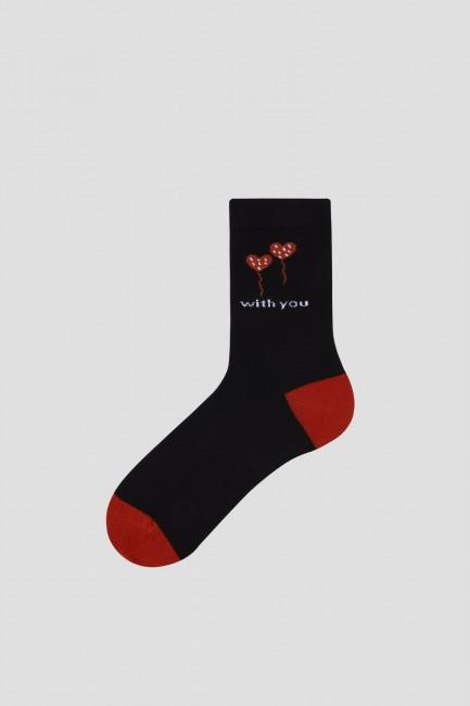 Bross 2'li Love With You Sevgililer Günü Yetişkin Çorap ve Çorap Maske Kombini - Thumbnail