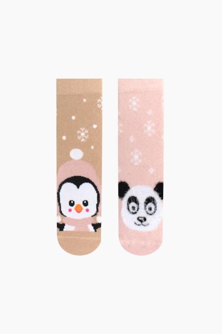 Bross - Bross 2'li Panda ve Penguen Desenli Tüylü Çocuk Çorabı