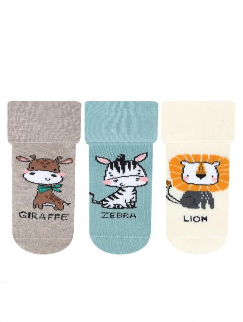 Bross - Bross 3-Pack Animal Patterned Non-Slip Printed Towel Baby Socks