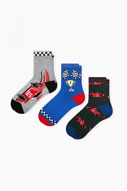Bross - Bross 3-Pack Car Race Patterned Boys Socks