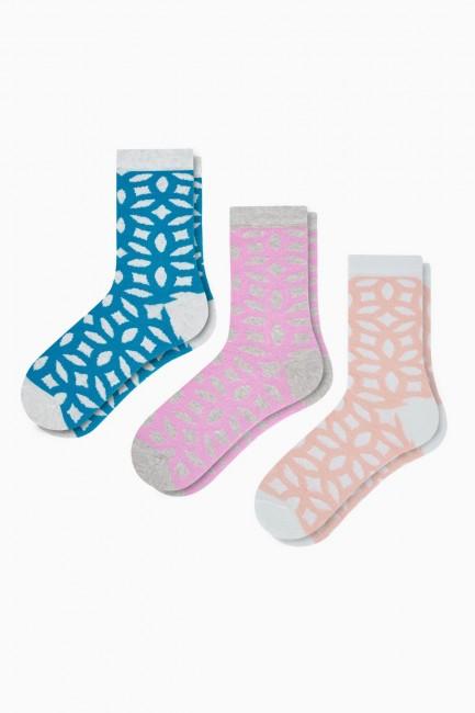Bross - Bross 3-Pack Carving Patterned Women's Socks