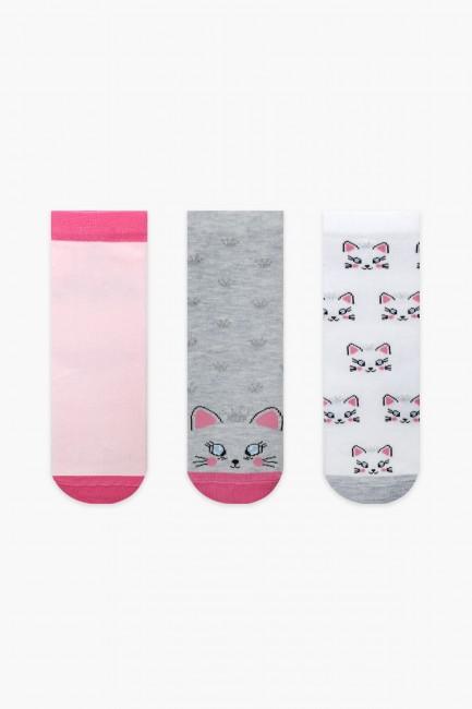 Bross - Bross 3-Pack Cat Patterned Glittery Kids' Socks