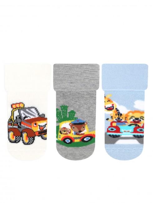 Bross - Bross 3-Pack Cute Animals Anti-Slip Terry Baby Socks