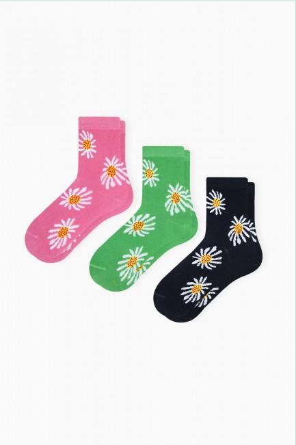 Bross - Bross 3-Pack Daisy Patterned Kids Socks