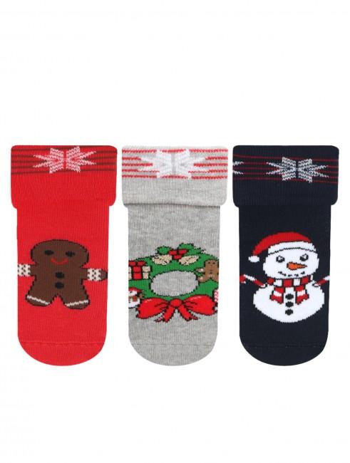 Bross - Bross 3-Pack New Year Themed Towel Baby Socks