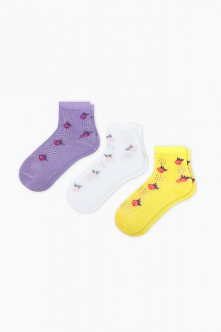 Bross - Bross 3-Pack Rose Patterned Net Baby Socks