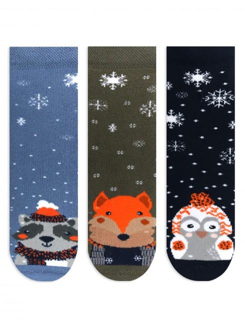 Bross - Bross 3-Pack Snow Themed Animal Patterned Towel Kids' Socks