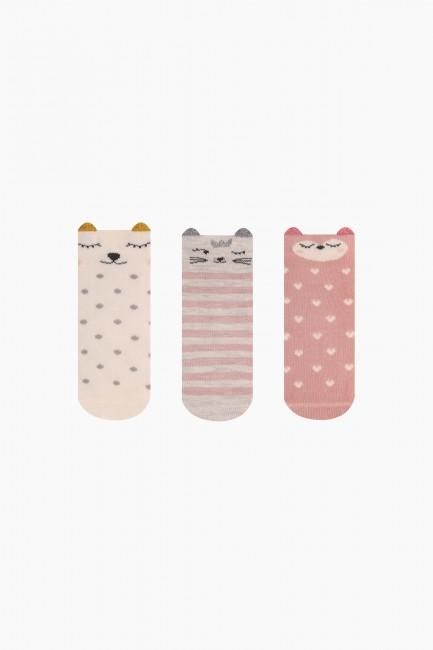 Bross - Bross 3-Piece 3D Cute Animal Patterned Baby Socks