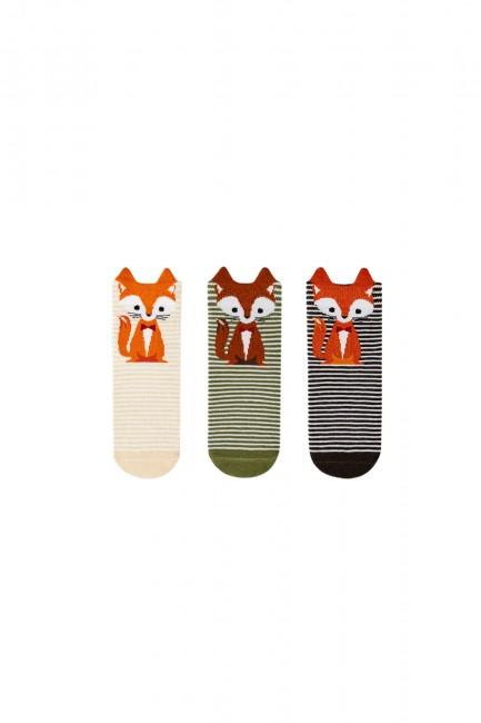 Bross - Bross 3-piece 3d Fox Patterned Children's Socks