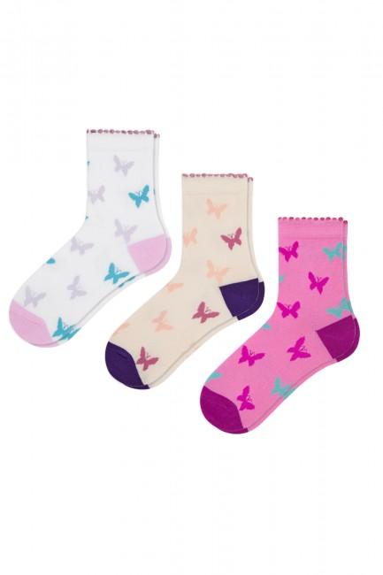 Bross - Bross 3-Piece Butterfly Patterned Children's Socks
