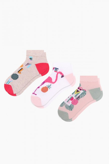 Bross - Bross 3-Piece Fun Summer Patterned Booties Kids Socks