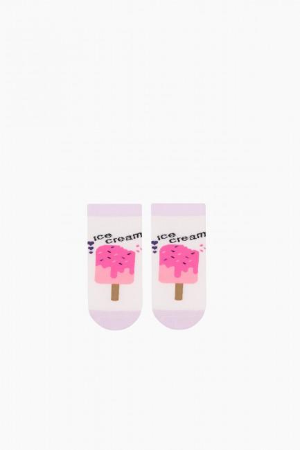 Bross 3-Piece Ice Cream Patterned Booties Kids Socks - Thumbnail