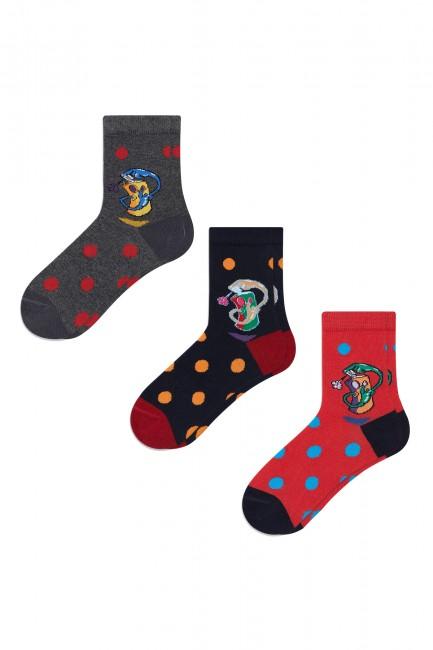 Bross - Bross 3-Piece Spray Patterned Children's Socks