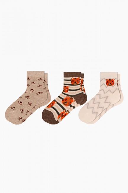Bross - Bross 3-Piece Tiger Patterned Baby Socks