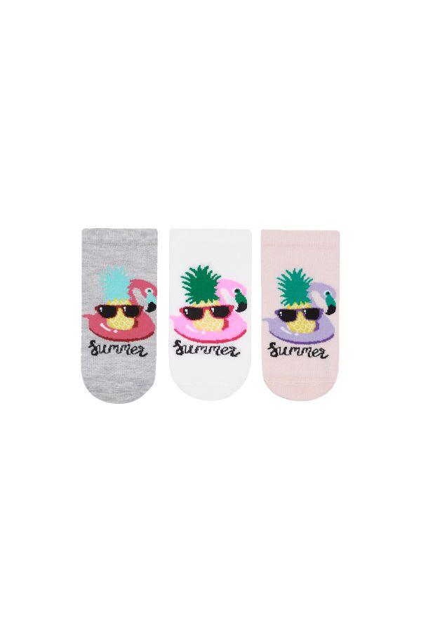 Bross 3 Pieces Summer Written Booties Kids Socks