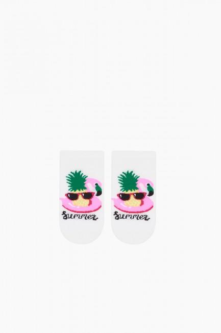 Bross 3 Pieces Summer Written Booties Kids Socks - Thumbnail