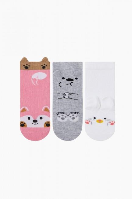 Bross - Bross 3D 3-piece Animal Patterned Children's Socks