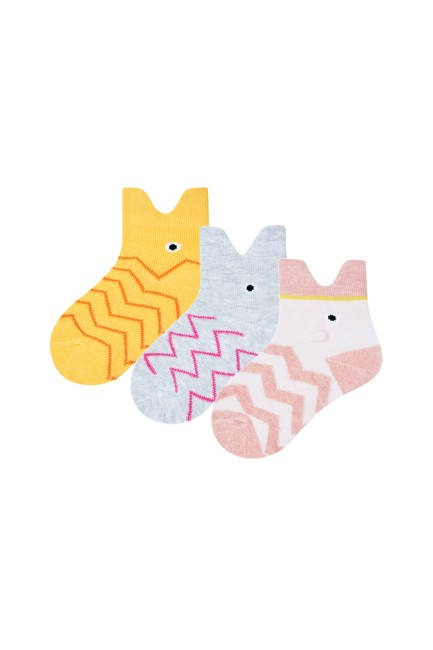 Bross - Bross 3lü 3d Balık Desenli Bebek Çorabı