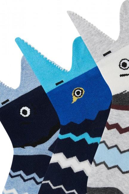 Bross 3'lü 3d Balık Desenli Çocuk Çorabı - Thumbnail