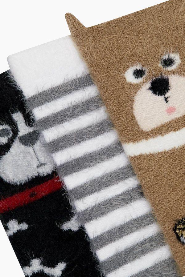 Bross 3'lü 3D Hayvan Desenli Tüylü Kadın Çorabı