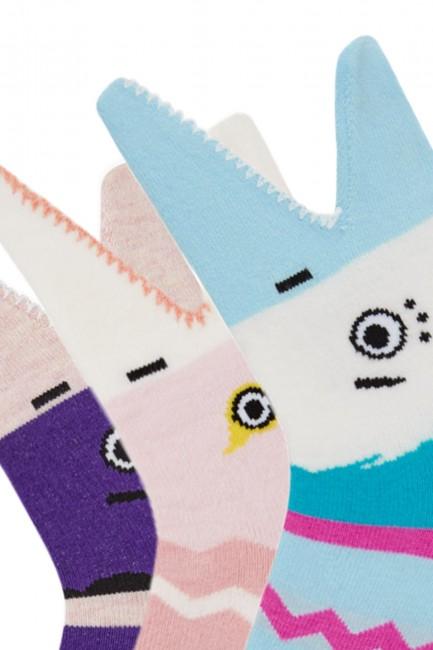 Bross 3'lü 3d Köpek Balığı Desenli Çocuk Çorabı - Thumbnail