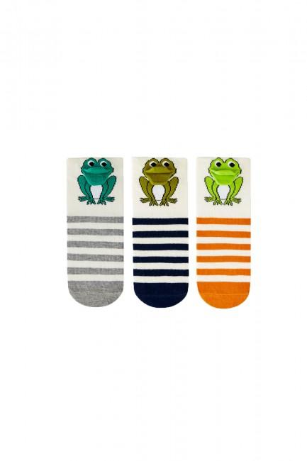 Bross - Bross 3'lü 3d Kurbağa Desenli Çocuk Çorabı