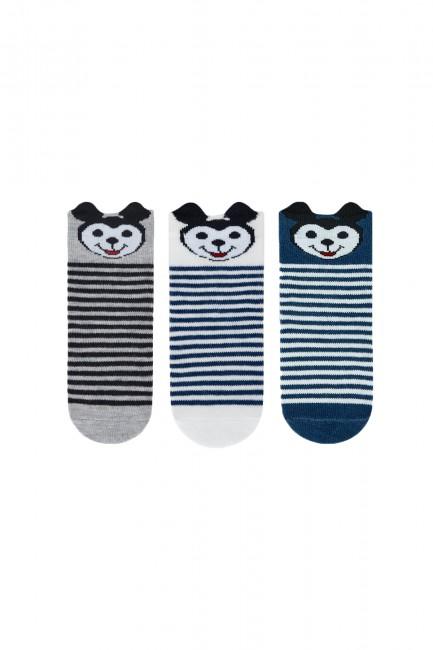 Bross - Bross 3'lü 3D Mickey Desenli Bebek Çorabı