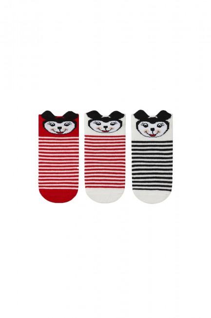 Bross - Bross 3-pack 3d Minnie Patterned Baby Socks