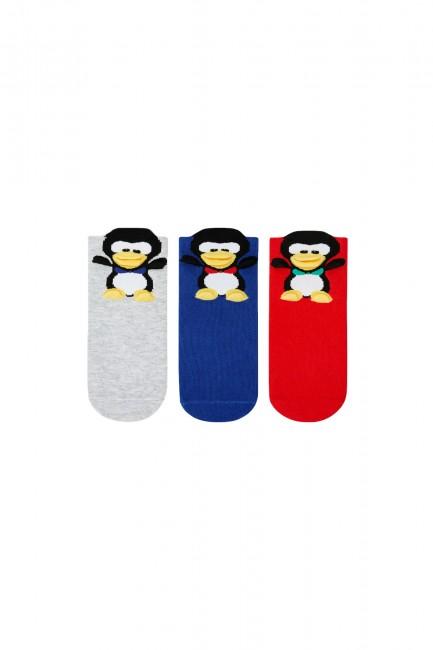 Bross - Bross 3-pack 3d Penguin Patterned Kids Socks