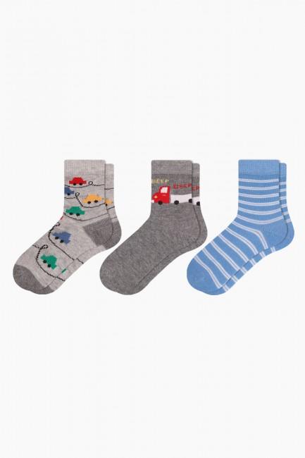 Bross - Bross 3-teilige Auto gemusterte Baby Socken