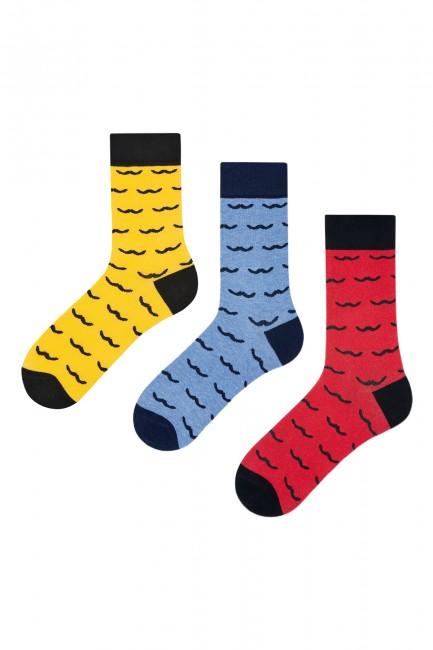 Bross - Bross 3'lü Bıyık Desenli Erkek Çorabı