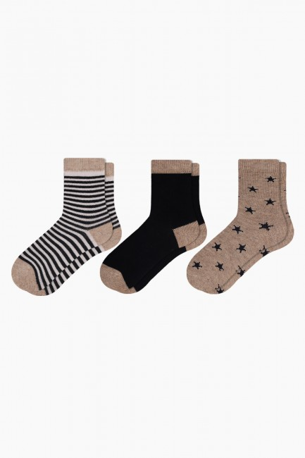 Bross - Bross 3-Circle Star Pattern Baby Socks