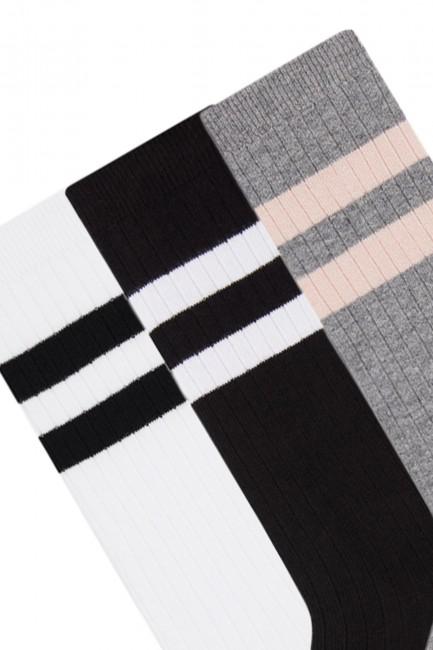 Bross 3'lü Çemberli Dizaltı Çocuk Çorabı - Thumbnail
