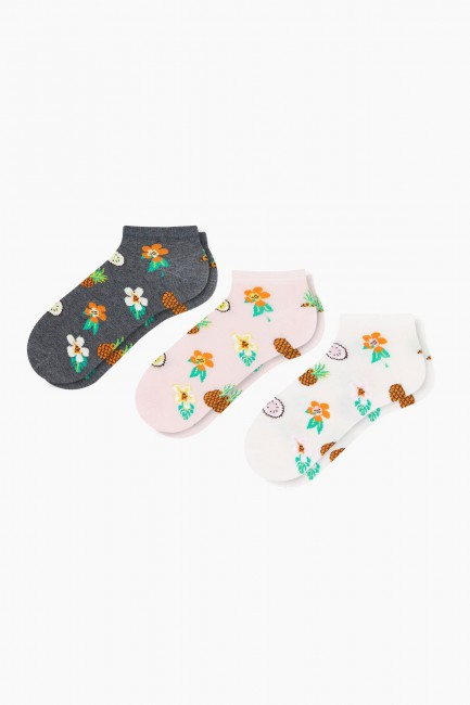 Bross - Bross 3-Piece Floral Patterned Booties Women's Socks