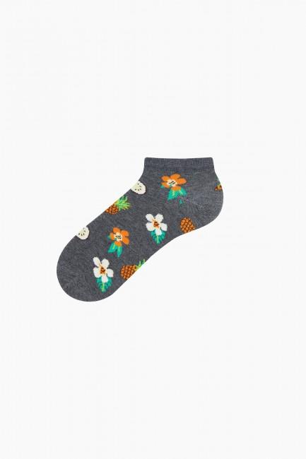 Bross 3'lü Çiçek Desenli Patik Kadın Çorabı - Thumbnail