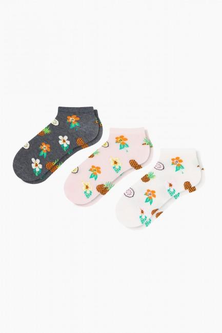Bross - Bross 3'lü Çiçek Desenli Patik Kadın Çorabı