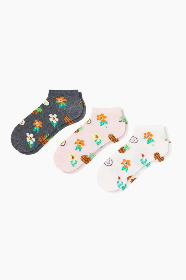 Bross 3'lü Çiçek Desenli Patik Kadın Çorabı