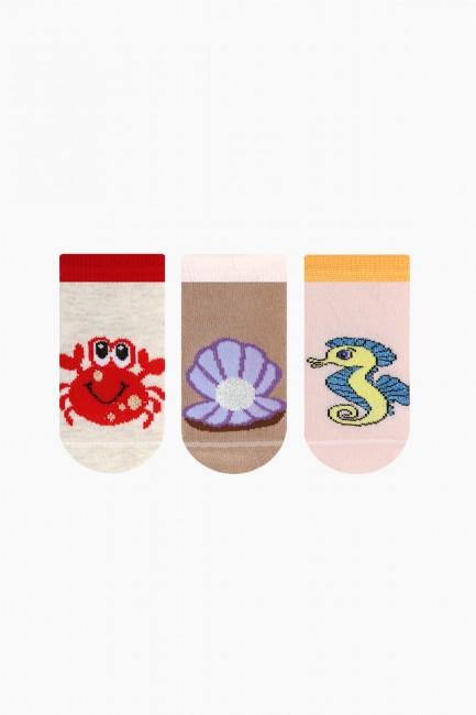 Bross - Bross 3'lü Deniz Canlıları Desenli Bebek Çorabı