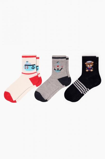 Bross - Bross 3'lü Denizci Desenli Bebek Çorabı