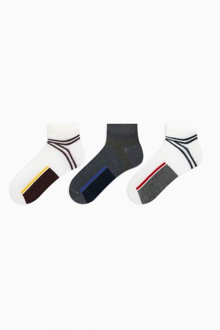 Bross - Bross 3'lü Derbili Erkek Patik Çorabı