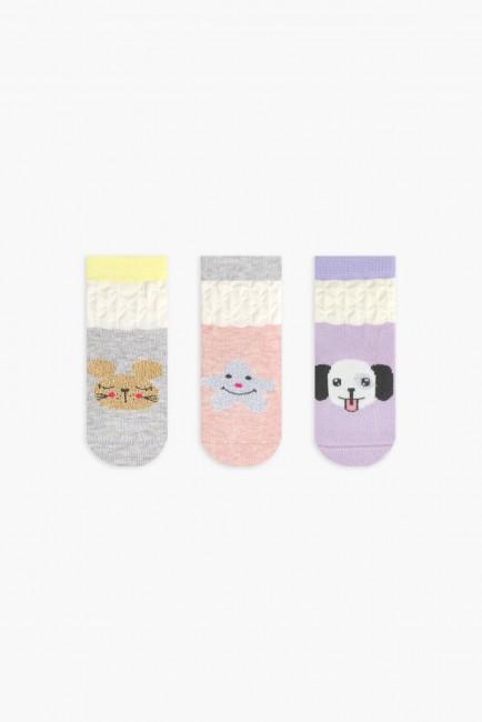 Bross - Bross 3'lü Desenli Simli Bebek Çorabı