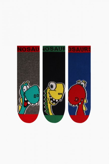 Bross - Bross 3'lü Dinazor Desenli Çocuk Çorabı