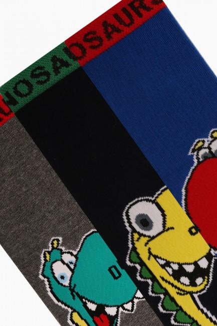 Bross 3'lü Dinazor Desenli Çocuk Çorabı - Thumbnail